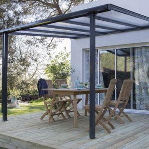 Pergola adossée Tradition aluminium gris 7,77 m²