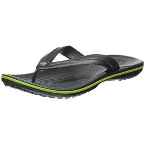 Crocs Crocband Flip, Mixte Adulte Sandales, Gris (Graphite/Volt Green), 48-49 EU