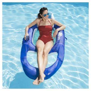 Swimways 6045228 - Spring Float Recliner - Fauteuil Gonflable de Piscine Semi Immergé en Tissu - Couleur Aléatoire