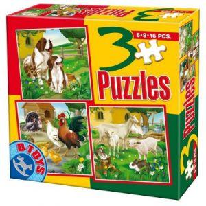 Dtoys Animaux de la ferme : Chiens, chèvres et volaille - 3 puzzles de 6 à 16 pièces
