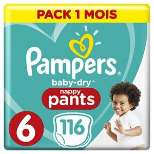 Pampers Baby Dry Pants - Couches-culottes Taille 6 (+15 kg) - Pack 1 mois (x116 culottes)