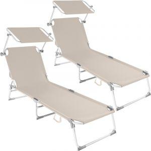 TecTake 2 Chaises longues, Transat, Bain de soleil, Pare Soleil, Pliables Aluminium 190 cm Beige