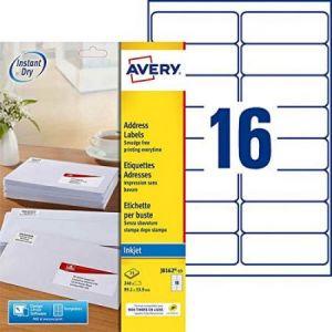 Avery-Zweckform J8162-15 - 240 étiquettes Jet d'encre blanches, format 99,1 x 33,9 mm (15 feuilles / cdt)