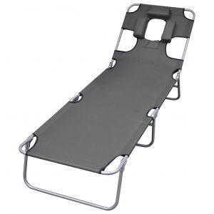 VidaXL Chaise longue pliable et coussin de tête Dossier réglable Gris