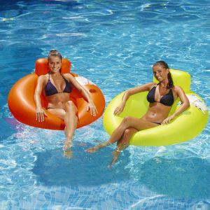 Kerlis Fauteuil gonflable avec porte-gobelet Diam.122cm - Orange Fluo - Extérieur