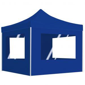 VidaXL Tente de réception pliable avec parois Aluminium 3 x 3 m Bleu