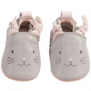 Moulin roty Chaussons cuir Les petits dodos gris ( 6-12 mois)