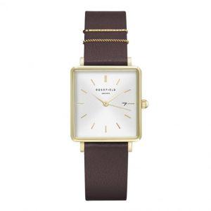 Rosefield Montre QSAG-Q030 - Boîtier métal doré brillant cadran blanc avec dateur bracelet cuir rouge orné d'anneaux Femme
