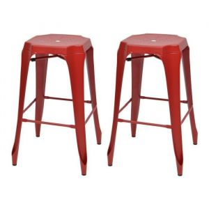 KRAFT Mary Lot de 2 tabourets de bar - Métal rouge mat - Style industriel - L 47 x P 47 cm - Tabouret industriel en Métal rouge mat - Assise L 47 x P 47 cm - Lot de 2