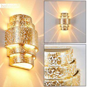 Hofstein Applique murale HANDAN en céramique doré luxueuse - Spot mural pour salon, chambre, couloir ou cuisine avec jeu de lumière Up&Down - Lampe d'intérieur