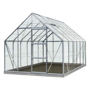 ACD Serre de jardin en verre trempé Olivier - 9,90m², Couleur Silver, Base Sans base - longueur : 3m84