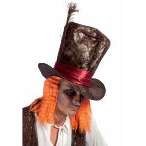 Ptit Clown Chapeau simili cuir chapelier fou avec cheveux