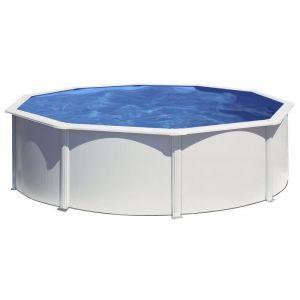 Gre Kit piscine hors-sol ronde en acier Wet Ø4,60x1,20 m - Liner bleu - Structure en acier prélaqué de 45/100 - Volume d'eau : 20 m³ - Liner bleu 30/100 - Dimensions : Ø4,60x1,20 m.