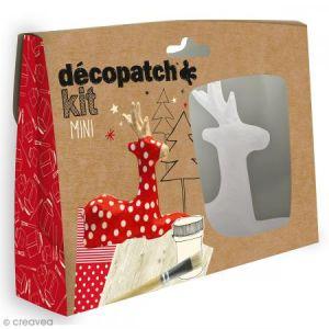 decopatch KIT018O - Loisir créatif - Mini-Kit avec Renne - Pot de Colle - Pinceau et 2 Feuilles