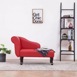 VidaXL Chaise longue Similicuir Rouge