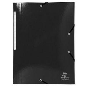 Exacompta 55821E - Chemise à élastique 3 rabats IDERAMA, pelliculée, grande capacité, coloris noir