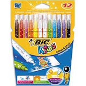 Philips Etui de 12 feutres de coloriage et 2 effaceurs Bic Kids Le Magicien pointe moyenne