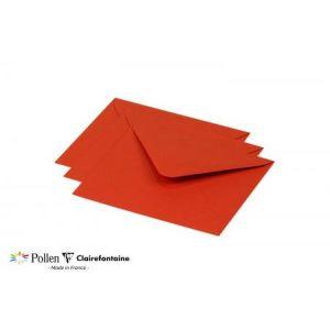 Clairefontaine 60171C Enveloppe Pollen 15,5 x 13,8 cm 120g paquet de 20 Rouge corail