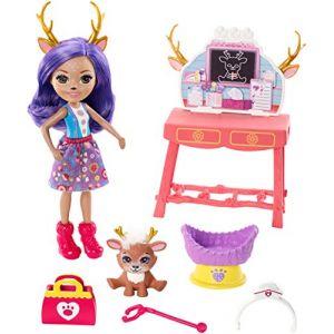 Mattel Enchantimals Coffret Le Centre Vétérinaire de mini-poupée Danessa Biche et son ami cerf Sprint, avec accessoires, jouet pour enfant, GBX04