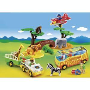 Playmobil 5047 - 1.2.3 : Coffret animaux de la savane avec gardien et touristes