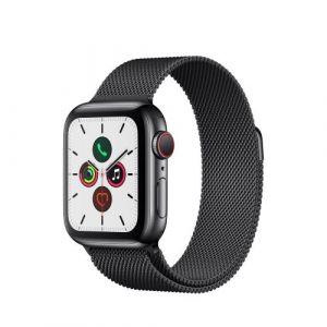 Apple Watch Watch Series 5 GPS + Cellular 40mm, Boitier Acier Inoxydable Noir Sidéral avec Bracelet Milanais Noir Sidéral