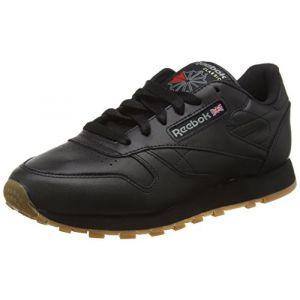 Reebok Classic Leather, Baskets Femme, Noir (Black/Gum), 41 EU