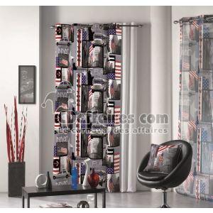 Rideaux à oeillets New York Drapeau USA Rock (140 x 240 cm)
