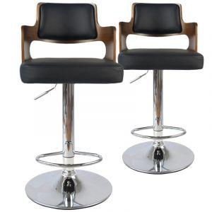 Menzzo Lot de 2 chaises de Bar Russel Bois Noisette & Noir Cuir, Noisette/Noir, 46x44x88 cm