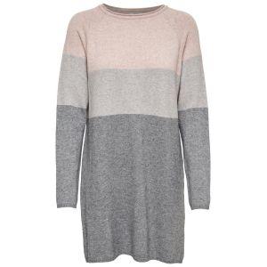Only NOS Onllily L/s Dress KNT Noos Robe, Multicolore (Mahogany Rose Detail:W Melange/Light Grey Melange/Medium Grey Melange), 38 (Taille Fabricant: Small) Femme