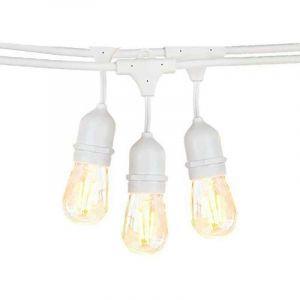 Optonica Guirlande Guinguette Blanche Suspendue IP65 6m pour 10 Ampoules E27