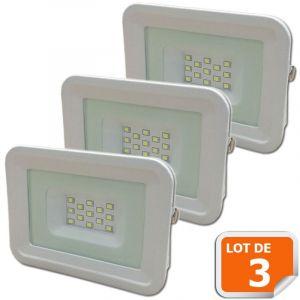 Lampesecoenergie Lot de 3 LED Projecteur Lampe 10W Blanc 6000K IP65 Extra Plat