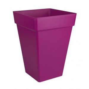 Loft URBAN Pot de fleur carré haut - 30 x 30 cm - Rouge Cerise - Résistant au gel - Résiste aux chocs - Pratique avec des animaux de compagnie ou des enfants