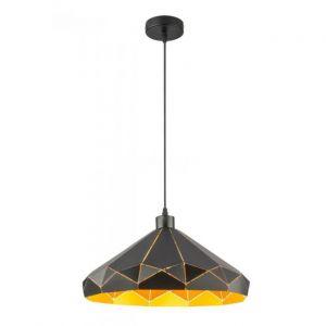Globo Lampe à suspension avec motif en abat-jour, or noir, p 40 cm