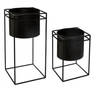 "Lot de 2 Cac Pots en Métal ""Support"" 40cm Noir Prix"