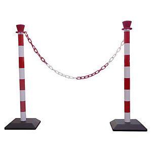 Viso Kit 2 poteaux de signalisation - base lestée + 1 chaîne de 2 m - rouge et blanc