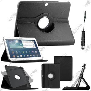 EbestStar Housse Coque Etui Pu Cuir Rotatif Avec Support À Rotation 360° Pour Samsung Galaxy Tab 3 10.1 Gt-P5210, 10 Pouces P5200 P5220, Couleur Noir + Mini Stylet + 1 Film Protection D'écran + Lingette