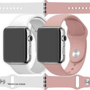 Ibroz Bracelet Apple Watch SoftTouch 44mm blanc + rose