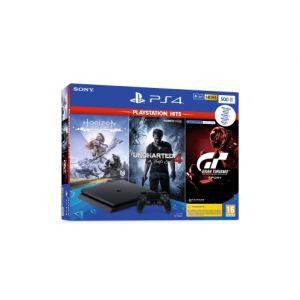Sony Pack Console PS4 500go Noire Avec 3 Jeux : Gran Turismo + Horizon New Dawn + Uncharted 4 PS4