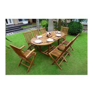 Wood-en-stock Table de jardin en teck huilé avec 2 fauteuils et 6 ...