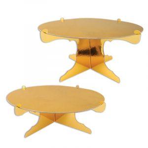 2 Supports gâteaux en carton dorés métallisés 31 cm Taille Unique
