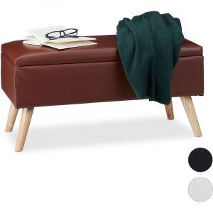 Relaxdays Banc de rangement banquette similicuir coffre 40 litres 4 pieds ottoman pouf HxlxP: 40 x 80 x 39,5 cm, brun