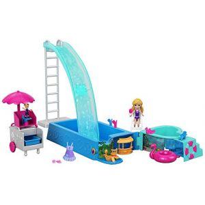 Mattel POLLY POCKET - La Piscine Toboggan - Inclut 2 figurines de 7 et 2,5 cm, un véhicule transformable et des accessoires