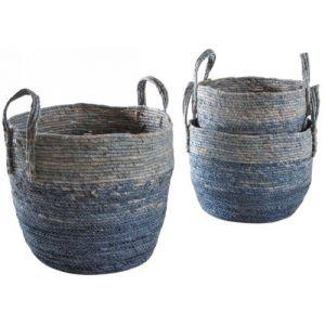 Aubry Gaspard Cache-pots en maïs teinté (Lot de 3) Bleu