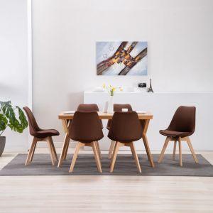 VidaXL Chaise de salle à manger 6 pcs Marron Tissu