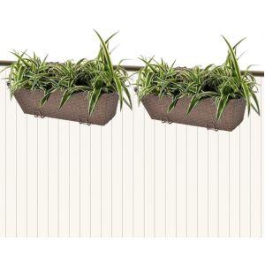 VidaXL Lot de 2 bacs pot de fleurs trapèze pour balcon en rotin marron 50 cm