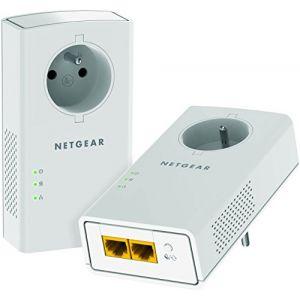 NetGear PLP2000 - Pack de 2 adaptateurs CPL 2000 Ethernet 2000 Mbits/s avec prise filtrée et 2 ports Gigabit Ethernet
