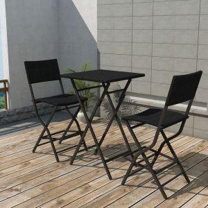 Image de VidaXL Ensemble de bar d'extérieur 3 pièces rotin synthétique noir