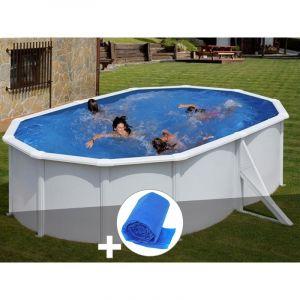 Gre Kit piscine acier blanc Bora Bora ovale 5,27 x 3,27 x 1,22 m + Bâche à bulles