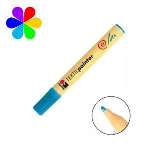 Marabu 011703095 - Marqueur pour tissu Textil Painter, bleu azur, pointe ogive 2-4 mm