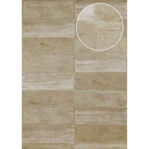 Atlas Papier peint aspect pierre carrelage ICO-2705-6 papier peint intissé lisse avec un dessin nature satiné gris gris-olive gris brun 7,035 m2